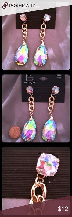 """BRAND NEW Iridescent Teardrop Earrings BRAND NEW   IRIDESCENT TEARDROP EARRINGS   GOLD TONE HARDWARE   ESTIMABLY A 4"""" DROP  LEAD AND NICKEL COMPLIANT   POST STYLE EARRINGS Jewelry Earrings"""