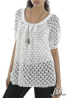 Beautiful #crochet peasant top.  Russian website.