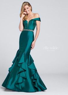 Off-the-shoulder Mikado mermaid gown plunging dipped neckline with illusion modesty panel hand-beaded waistband cascading ruffled skirt   Ellie Wilde by Mon Cheri