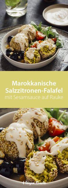 Marokkanische Salzzitronen-Falafel mit Sesamsauce auf Rauke