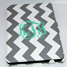 Chevron Ipad Mini Case With Mint Colored Monogram This Is Adorable And You Can Personalize