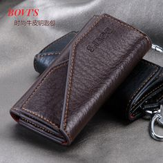 Men's casual Buckle hang men's fashion classic leather leather key bag 3 fold key sleeve with a door position change card holder