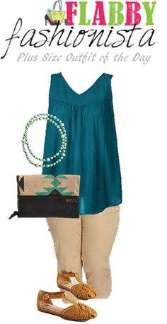 Plus Size Outfit of the Day – Teal and Khaki