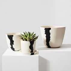 California-based housewares company btw Ceramics approaches each of their handmade porcelain pieces as its own creation, with inspiration drawn from torrential downpours and the mirages created by hazy desert sunsets. The Crater Planter is availab… Modern Planters, Indoor Planters, Diy Planters, Hanging Planters, Concrete Planters, Indoor Outdoor, Large Planters, Plants Indoor, Outdoor Decor