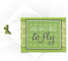You Are Free to Fly Greeting Card  Blank by beautifullygreen