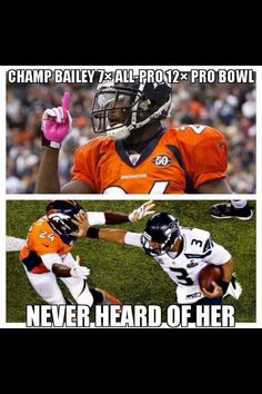 Stiff arm by Seattle Seahawks Russell Wilson to Champ Bailey in Superbowl 48!