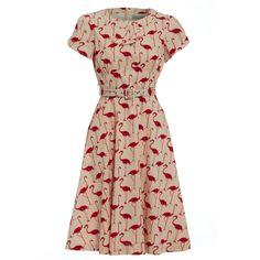 'Clarissa' Flamingo Print Tea Dress