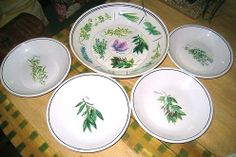 Williams Sonoma herbs pasta set...I have 6 individual bowls and matching bread plates and the large serving bowl