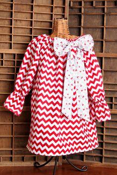 Girls Fall Thanksgiving Peasant Chevron Dress. by SewManyRuffles, $28.00
