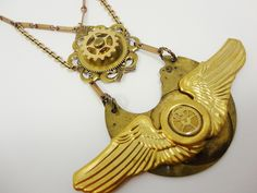 By Dr Brassy Steamington, Steampunk Brassy Feathers Necklace.