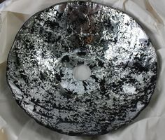12in 12.5 Metallic Black And Silver Abstract Hand Painted Modern  Contemporary Glass Vessel Sink Basin B17