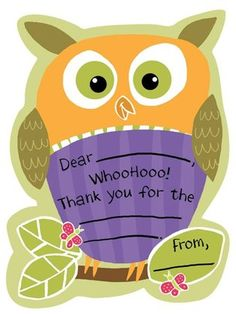 Owl Thank You notes= Cute! #YoYoBirthday