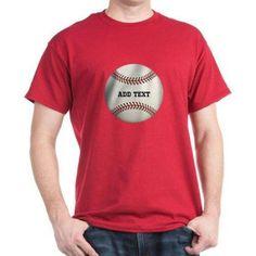 CafePress Personalized Baseball T-Shirt, Size: Small, Red