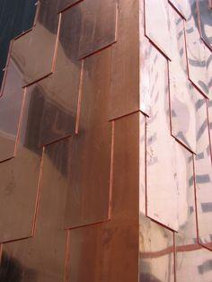 copper cladding 1 rivestimento in rame Metal Cladding, Metal Siding, Exterior Cladding, Wall Cladding, Architecture Details, Interior Architecture, Color Cobrizo, Facade Pattern, Pattern Texture