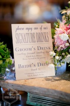 signature drink list at a rustic sodo park warehouse wedding.