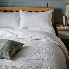 Buy White John Lewis & Partners Kate Seersucker Duvet Cover and Pillowcase Set, King set from our Duvet Covers range at John Lewis & Partners.