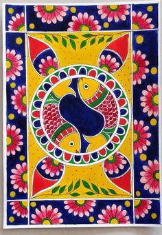 Madhubani Paintings Peacock, Madhubani Art, Indian Art Paintings, Indian Traditional Paintings, Kalamkari Painting, Buy Paintings, Landscape Paintings, Worli Painting, Bottle Painting