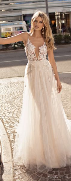 MUSE by BERTA Spring 2019 Wedding Dresses - City of Angels Bridal Collection | Non Strapless lace wedding dress with over skirt | A line bridal gown with deep-v neckline | Romantic bridal dress | #weddingdress #weddingdresses #bridalgown #bridal #bridalgowns #weddinggown #bridetobe #weddings #bride #weddinginspiration #weddingideas #bridalcollection #bridaldress #fashion #dress See more gorgeous bridal gowns by clicking on the photo