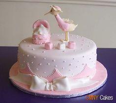 Pink Stork Baby Shower Cake cakepins.com