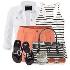 Orange Shorts and Striped Tank by brendariley-1 on Polyvore featuring moda, By Malene Birger, maurices, White Stuff, Mel by Melissa, Kate Spade, Wet Seal and Ray-Ban