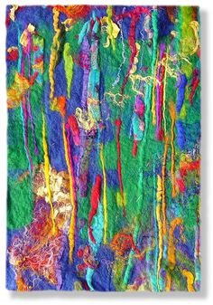Contemporary abstract fiber art by UK textile artist and feltmaker Mary-Clare Buckle - 'Trees'