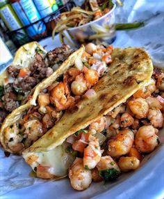 🗣 follow @fentybinder for more ! 😏 Tacos Gobernador, Shrimp Tacos, Shrimp Taco Recipes, Shrimp Soup, Mexican Food Recipes, Steak Tacos, Ethnic Recipes, Camarones, Food Pics