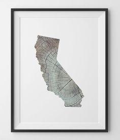 California Wood Print Rustic Wood Knot Art California Wood