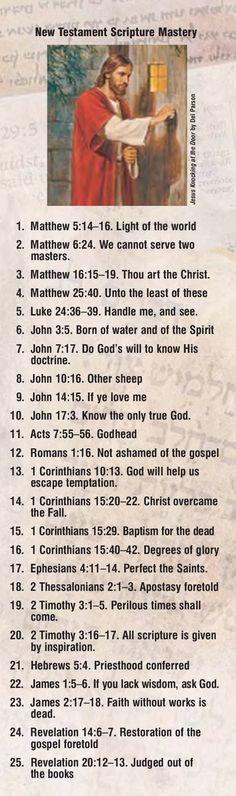 New Testament scripture mastery bookmark. #ldsseminary #lds