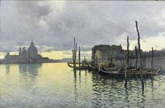 Emilio Sánchez-Perrier (1855 – 1907) Evening, Looking Towards the Grand Canal with Santa Maria dells Salute in the Distance