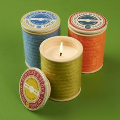Unique and cute thread spool candles from @The Shopping Bag