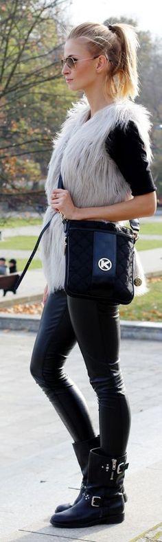 Grey Faux Fur Fluffy Vest by Beauty - Fashion - Shopping