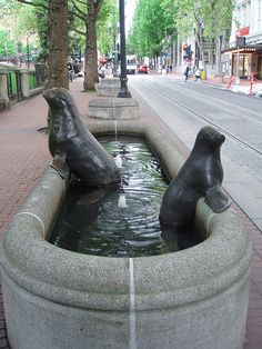 one of a group of aquatic life sculptures in downtown Portland, Ore., one of my favorite cities to go walking in.