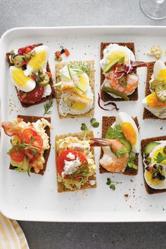 Sparked by the leisurely pleasures of the cocktail-and-canapé Mad Men era, smørrebrød (Danish open-faced sandwiches) are the latest craze in stress-free entertaining. With a little clever prep, you can set out an impressive DIY spread in under an hour. Now we'll toast to that. Skål, y'all!Recipe: Southern-Style Smørrebrød