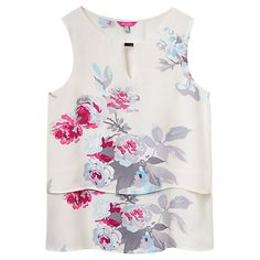 Buy Joules Amelia Double Layer Printed Top, Creme Bloom Online at johnlewis.com