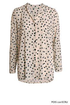 Pois 110 Ecru von KD Klaus Dilkrath #kdklausdilkrath #kd12 #kd #pois #dot #ecru #white #blouse #shirt #longsleeve #outfit #business #woman #kdklausdilkrath #kd #dilkrath #kd12 #outfit