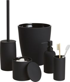 noir side of neat. Tactile stoneware accessories add a modern touch to the bath… Modern Bathroom, Small Bathroom, Black Bathroom Decor, Rental Bathroom, Bathroom Canvas, Bathroom Stuff, Bathroom Accessories, Home Accessories, Black Toilet