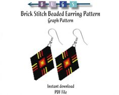 Bead Patterns for all skill levels. by BeadingWithBugs Peyote Beading Patterns, Beaded Earrings Patterns, Bead Earrings, Bracelet Patterns, Bead Jewellery, Beaded Jewelry, Brick Stitch Earrings, Triangle Earrings, Native American Beading