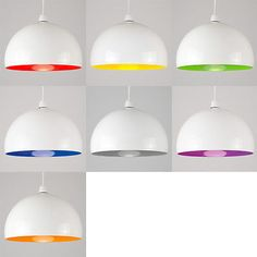 Large White Metal Cafe Style Ceiling Pendant Light Lamp Shades - Coloured Inners