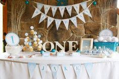 baby boy birthday decorations | one year old | first birthday 1st | blue, white and beige theme | earthy rustic theme with flag letters