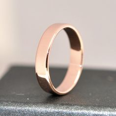 14K Rose Gold Wedding Band 4mm Recycled Gold Eco-Friendly Wedding Ring, size 8.25-10, any size available, Sea Babe Jewelry