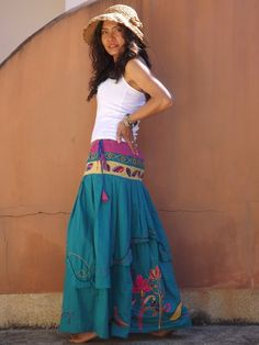 Hand Embroidered Long Skirt ..Maxi Skirt ...Long by Ablaa on Etsy