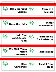 Printable Christmas Carol Game Cards for Pictionary or CharadesINSTANT DOWNLOAD by PamsPartyPrintables on Etsy