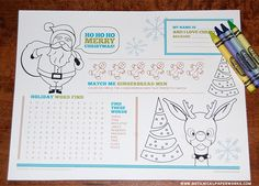 {free printable} Christmas Activity Placemats for Kids