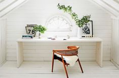 Attic Remodel Tips attic apartment layout.Attic Home Knee Walls. Attic Library, Attic Office, Attic Playroom, Attic Rooms, Attic Spaces, Best White Paint, White Paint Colors, White Paints, Garage Attic