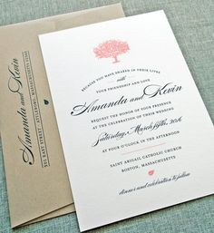 Amanda Coral Tree Wedding Invitation Sample - Rustic Recycled Natural Wedding Invitation