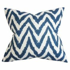 """Add a pop of pattern to your sofa or favorite arm chair with this chic cotton pillow, showcasing a chevron motif and down fill.   Product: PillowConstruction Material: 100% Cotton cover and down fillColor: Navy blueFeatures:  Insert includedMade in the USAHidden zipper closure Dimensions: 18"""" x 18""""Cleaning and Care: Spot clean recommended"""