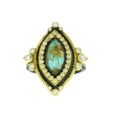 Armenta 18K Yellow Gold and Oxidized Sterling Silver Turquoise Ring with Rutilated Quartz Overlay : Soho Gem