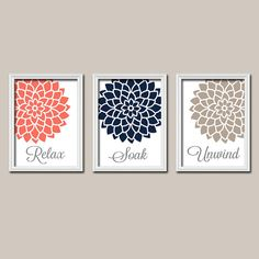 Coral Navy Bathroom Wall Art Canvas Artwork Relax Soak Unwind Quote Flower Dahlia Flower Set of 3 Prints Decor Shower Curtain Match Three on Etsy, $30.00