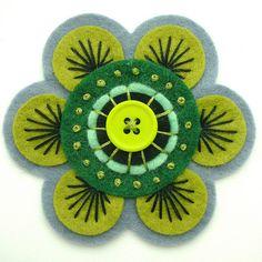 70s INSPIRED FELT FLOWER BROOCH by APPLIQUE-designedbyjane, via Flickr