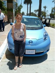 Alyssa Milano and her Nissan Leaf